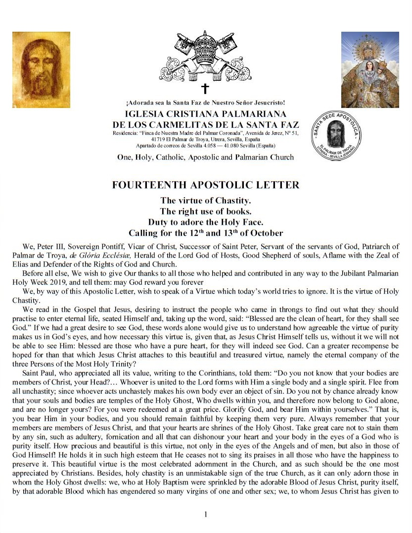 Fourteenth Apostolic Letter of His Holiness Pope Peter III <br><br>  Magbasa pa