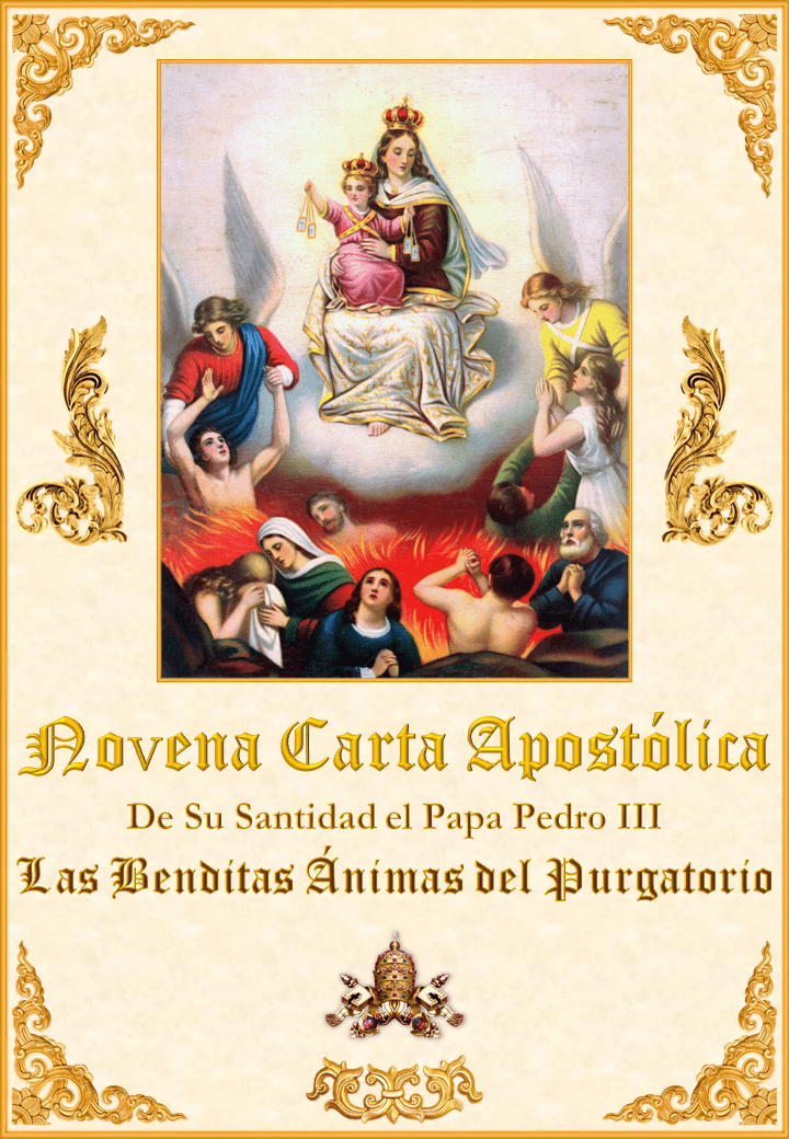 """<a href=""""https://www.iglesiapalmariana.org/wp-content/uploads/2019/08/Novena-Carta-Apostolica-de-Su-Santidad-el-Papa-Pedro-III.pdf"""" title=""""La novena Carta Apostólica de Su Santidad el Papa Pedro III sobre las Benditas Ánimas del Purgatorio""""><i>La Novena Carta Apostólica de Su Santidad el Papa Pedro III sobre las Benditas Ánimas del Purgatorio</i><br><br>Vedi altro</a>"""