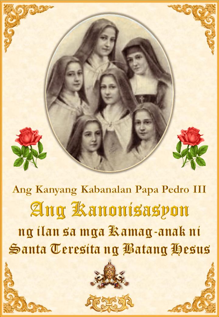 Ang Kanonisasyon ng ilan sa mga Kamag-anak ni Santa Teresita ng Batang Hesus<br><br>Tingnan Pa