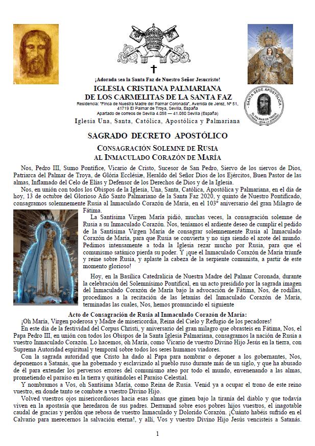 Sagrado Decreto Apostólico Consagración Solemne de Rusia al Inmaculado Corazón de María<br><br>Ver mais</a>
