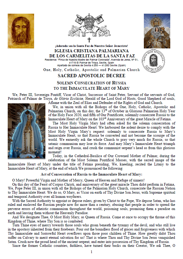 Sacred Apostolic Decree <br>Solemn Consecration of Russia to the Immaculate Heart of Mary